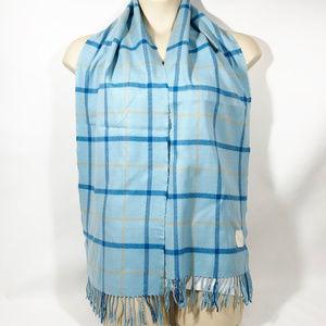 Vintage COACH Blue Wool Plaid Scarf